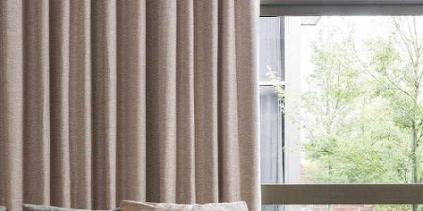 Pink Blockout Curtains in a Lounge Room
