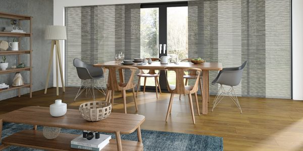 Translucent Panel Glides in Modern Dining room