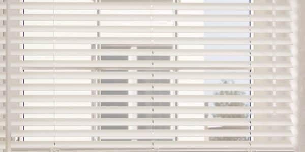 White 50mm Venetian Blind half open