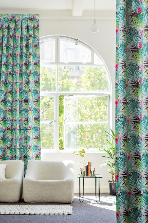 printed curtain palm print fabric in aqua and hot pink